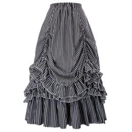 39b187824e faldas skater para mujer volantes diseño plisado Retro Vintage estilo  gótico steampunk fiesta negro blanco rayas Bustle falda falda