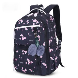 school beautiful bag Australia - Beautiful flowers printing school backpack for kids big capacity children school bags for girls plush ball gift princess bag