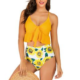 plus size two piece bikini swimwear 2019 - two piece swimsuit for women Tankini Sexy Push-Up Pad high waist bikini brazilian sunflower plus size swimwear bathing s