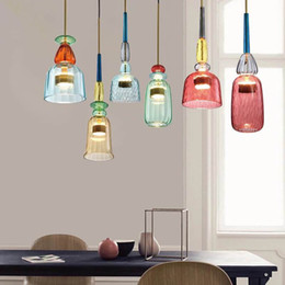 candy kitchen Australia - Nordic Color Candy Pendant Lights Children's Room Ins Retro Hanging Lamp Single Head Glass Lamps Lustres Pendentes Decor Home