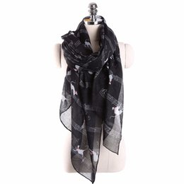 Wholesale Musical Scarves Australia - Women Ladies Musical Note Cat Print Pattern Long Scarf Warm Wrap Shawl