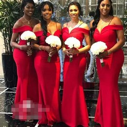Discount boat neck mermaid wedding dress - Boat Neck Sleeves Red Bridesmaid Dresses 2019 Satin V-neck Backless Maid Of Honor Gowns Wedding Guest Dress Plus Size Af