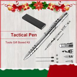 Torcia a LED Tactical Penna Self Defense Survival Strumenti EDC Multi-funzione di vetro bottiglia testa apribottiglia penna di scrittura per il regalo di Natale