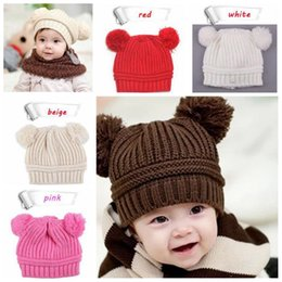 Knit infant hats online shopping - Infant Baby Unisex Double Bobbles Beanies Knitted Ribbed Hats Children Kids Autumn Winter Warm Solid Color Caps Color