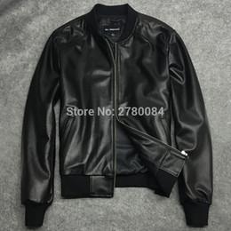 $enCountryForm.capitalKeyWord NZ - Factory men jacket male baseball uniform genuine leather motorcycle leather clothing slim design sheepskin short outerwear