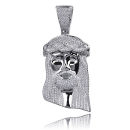 $enCountryForm.capitalKeyWord UK - Iced Religious Jesus Head Pendant Necklace Free Rope Chain Gold Color Bling Cubic Zircon Men's Hip Hop Jewelry For Gift