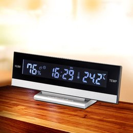 Large Lcd Clocks Australia - Desk European Temperature Humidity Clock Electronic Battery Home Digita LCD Big Large Screen LED Display Electronic Alarm Clock