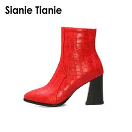 $enCountryForm.capitalKeyWord Australia - Sianie Tianie 2019 new winter autumn woman shoes red grey white black block high heels boots zipper pointed toe ankle boots