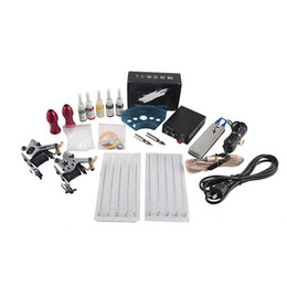 Complete Tattoo Gun Kits 2 Machines Guns 5 Colors Inks Sets 10 Pieces Needles Power Supply Tips Grips Tattoo Guns Kits for Beginner on Sale