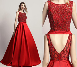 ae8d9a6c332 2019 Robe De Soiree Gatsby Vintage Luxury crystal beaded red A-Line Evening  Dresses yousef aljasmi sheer Neck with cape arabic Prom Gowns