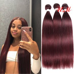 Discount 18 inch red human hair - 99J Burgundy Red Color 100% Human Hair Bundles 8 to 26 Inch Brazilian Straight Hair Weaving 4 Bundles Non Remy Hair Exte