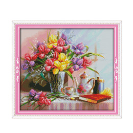 $enCountryForm.capitalKeyWord Australia - The Beautiful flowers Paintings Counted Printed On Canvas DMC 11CT and 14CT Aida Cross Stitch kits Embroidery Crafts Home Decor