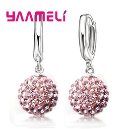 $enCountryForm.capitalKeyWord Australia - YAAMELI Top Sale 925 Sterling Silver Shining Crystal Pave Disco Ball Hoop Earrings Jewelry wholesale Dropshipping Woman Jewelry