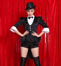 Wholesale tuxedo dancing costume resale online - Black tuxedo GIRLS GENERATION uniforms female jazz dance costume ds costumes