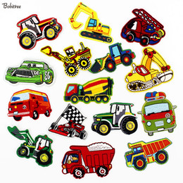 $enCountryForm.capitalKeyWord Australia - Cartoon Cars Trucks Children Iron Patches Clothes Embroidery High Quality Sewing Patches For Kids DIY Clothes Badges