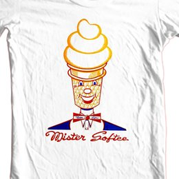 157a7201 Mister Softee T-shirt retro ice cream truck 70's 80's old style 100% cotton  tee Men Women Unisex Shipping Funny Cool Top Tee White Men Women