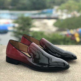 $enCountryForm.capitalKeyWord Australia - Free shipping 2019 patent leather Gentleman luxury Men Loafers Gradient Color Flats Spike Mens dress Shoes with shoes box Homecoming 38-47