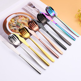 $enCountryForm.capitalKeyWord Australia - 3pcs set Flatware Set Gold Cutlery Spoon Fork Knife Tea spoon Dinnerware Kit Stainless Steel Dinnerware Set Kitchen Utensil 5 colors
