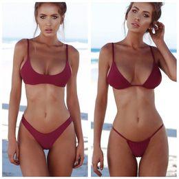 62529d0838717 Sexy Plus Size Women Swimwear Solid Padded Wire Free Summing Suit Beach  Half Cup Swimsuit Push Up Spaghetti Strap Bikini Set DS0487 T03