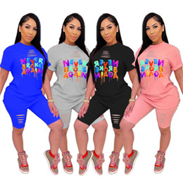 Wholesale ladies sportswear clothing resale online – Summer Women Outfits Casual Short Sleeved Tops Shorts Tracksuit Ladies Letter Print Ripped Pieces Clothing Sets Sportswear S XL D52205LY