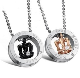 wholesale stainless steel necklace sets UK - New Arrival Keep Me in Your Heart King Queen Crown Pendant Necklace Stainless Steel Valentine His & Hers Couples Gift Lovers' Necklaces Set