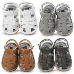 Crochet Beach Sandals Australia - INS Baby Boy Summer Shoes Sandals Antiskid Beach First Walker Anti Slip PU Leather Soft Sole Jongen Sandalen Kids Toddlers
