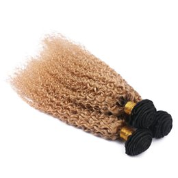 $enCountryForm.capitalKeyWord UK - Human Hair Weaves Kinkys Curl Hair Extensions 1b 27 Honey Blonde Ombre Hair Bundles 3Pcs Lot Kinky Curly 2 Tone Weaves