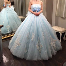 Bow dress event online shopping - Quinceanera Dresses Light Blue Prom Ball Gown Tulle Evening Gown Plus Size Strapless Sweet Special Events