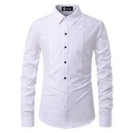 Plain Collar Shirts Australia - 2019 New Men's Simple Casual Fashion Plain Color Personality Stitching Collar Row Button Men's Long-sleeve Shirt