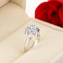 $enCountryForm.capitalKeyWord Australia - Oriental Fashion 3ct Round Flower Jewelry SONA Synthetic Diamond Ring Engagement 18K White Gold Plated Real Sterling Silver Jewelry