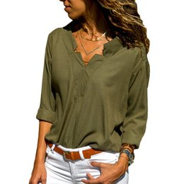 $enCountryForm.capitalKeyWord NZ - Spring Women Blouses Solid Long Sleeve Shirts Sexy V-neck Blouse Elegant Top Womens Loose Casual Tunic Shirt Plus Size Blusas