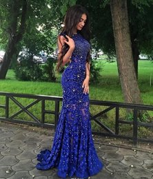 $enCountryForm.capitalKeyWord Australia - Royal Blue Lace Prom Dresses Sparkly Crystals Open Back Sleeveless Mermaid See Through New Women Pageant Evening Gowns 2019 Party Dresses