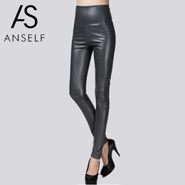leather tight trouser Australia - Fashion PU Leather Pants Women Skinny Pants Elastic High Waist Warm Fleeces Autumn Solid Slim Tights Pencil Pant female Trousers