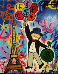Discount eiffel tower canvas prints Alec Monopoly Oil Painting On Canvas Graffiti Art Eiffel Tower Wall Art Home Decor Handcrafts  HD Print Pictures 190918