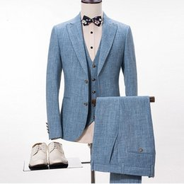 $enCountryForm.capitalKeyWord Australia - Blue Linen Suit Men Casual Summer Beach Wedding Suits For Men Groom Best Man Prom Party Blazer Slim Fit Terno Masculino 3 Pieces