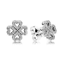 DiamonD stuD settings online shopping - Luxury Fashion CZ Diamond Flower Stud Earring Original box for Pandora Silver Lucky Clover Wedding Earrings Set for Women