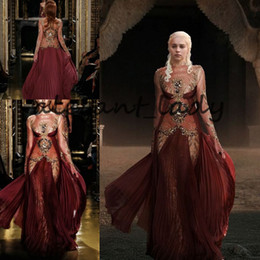 Targaryen dress online shopping - Daenerys Targaryen in Zuhair Murad Evening Formal Dresses with Long Sleeve Burgundy Lace Gold Detail Occasion Prom Dress with Ribbon