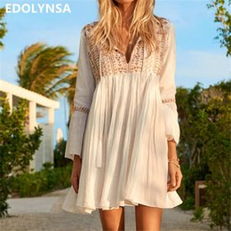 b5807206487 Sexy Deep V Neck Self Tie Patchwork Long Sleeve Boho Midi White Cotton  Ruffle Tassel Loose Summer Beach Tunic Dress N510 Q190506