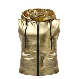 Discount vest shiny fashion - 2018 New Trend Drawstring Hooded Vest Night Club Shiny Gold Sleeveless Stage Performances Zipper Fashion Silver Waistcoa