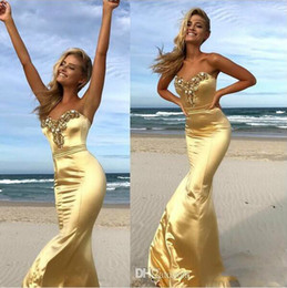 Perfect Flooring Australia - Perfect Crystal Gold Mermaid Prom Dresses Sweetheart Zipper Back Floor Length Long Evening Party Dress Custom Made Cheap robes de soirée