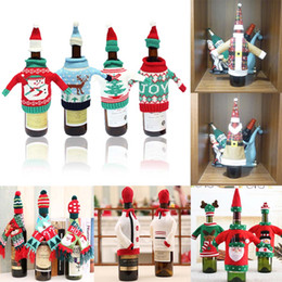 dinner bags designer 2021 - one set Christmas Decorations Wine Bottle Sweater Cover Bag Santa Claus Knitting Hats for New Year Xmas Home Dinner Party Decor