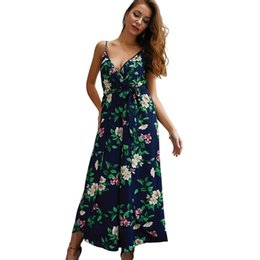 d513079611b 2019 Summer Women s Jumpsuit Fashion New V-neck Split Floral Printed Straps  Jumpsuits for Lady Capris Loose Casual Rompers Women s Clothing