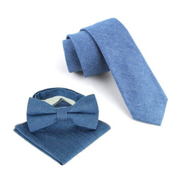 China cotton neckties set for men cowboy tie handkerchief bow tie butterfly necktie bowknot pocket square suppliers