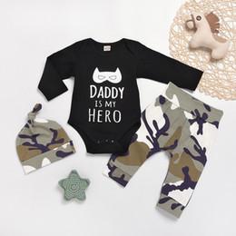 $enCountryForm.capitalKeyWord Australia - Newborn Infant Baby Boy Clothes Letter Cartoon Romper Tops+Camo Stylish fashion design Pants Outfit Set clothes