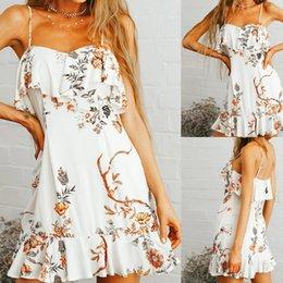 $enCountryForm.capitalKeyWord Australia - Summer Bohemian Dress 2019 Women's Summer Fashion Flower Print Ruffles Split Dress Vacation Style vestidos robe femme @4