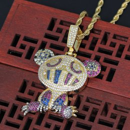 $enCountryForm.capitalKeyWord Australia - European and American hip hop jewelry color frog pendant fashion men's accessories copper inlaid zircon necklace social party gift jewelry w