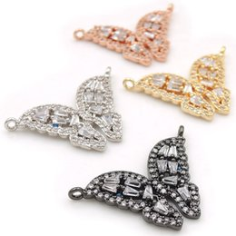 $enCountryForm.capitalKeyWord Australia - 25*18*3mm Micro Pave Clear CZ Butterfly Charms Of Double Loops Fit For Men And Women Making Necklaces Jewelry