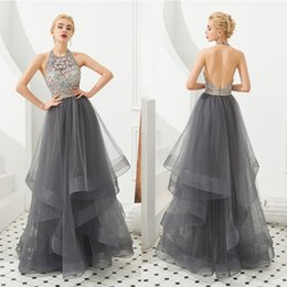 Modern designs photo online shopping - Ruffles Gray Prom Dresses New Designed Halter Neck Sexy Open Back Crystals Beaded Flora Evening Gowns CPS1318