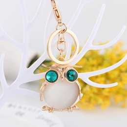 $enCountryForm.capitalKeyWord Australia - Lovely Mini Owl Branch Cute Crystal Charm Purse Handbag Car Key Keyring Keychain Party Wedding Birthday Gift