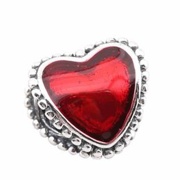 Wholesale New Europe Fashion Red Heart Charms Beads Authentic Sterling Silver Red Heart Beads Fit For Snake Chain DIY Bracelet Jewelry
